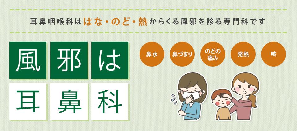 耳鼻咽喉科ははな・のど・熱からくる風邪を診る専門科です